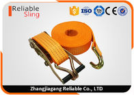 ประเทศจีน 4T Polyester Orange Double J Hook Ratchet Straps / Heavy Duty Cargo Straps โรงงาน