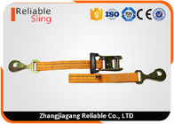 ประเทศจีน Heavy Duty Ratchet Tie Down Strap 3000lbs Rated Capacity with Flat Snap Hooks โรงงาน