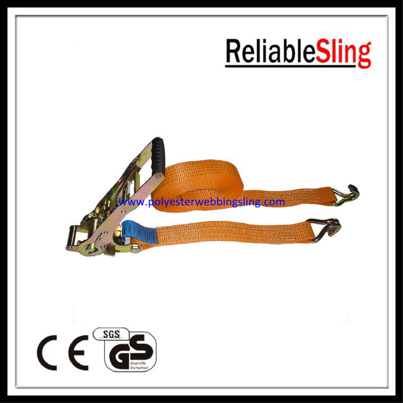 5T Double - j hook lashing tie down straps for trucks , Lashing ratcheting strap