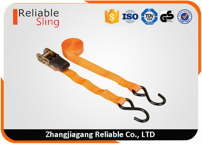 25mm orange rubber ratchet trailer tie down straps with pvc coated s hooks