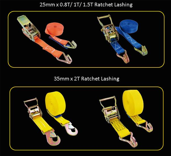 50mm 4 ton solid color polyester webbing ratchet camper tie downs with wire hooks